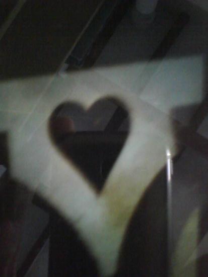 black heart on the floor of Basilica Saint Benedict